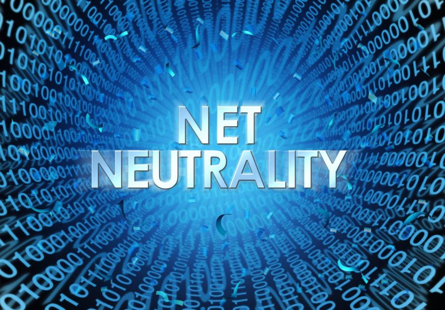 Net+neutrality+concept+as+an+internet+regulation+idea+with+text+and+binary+cade+as+an+online+technology+metaphor+for+web+freedom+as+a+3D+illustration.