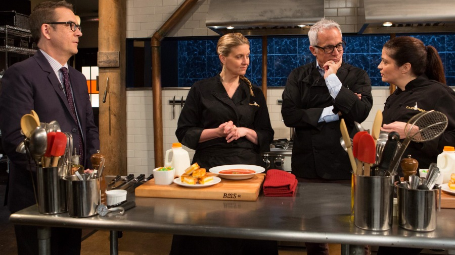 Chopped after hours host Ted Allen discusses the April Fools day ingredients with chefs: Amanda Frietag, Geoffrey Zakarian and Alex Guarnaschelli, as seen on Food Network's Chopped After Hours, Season 23.