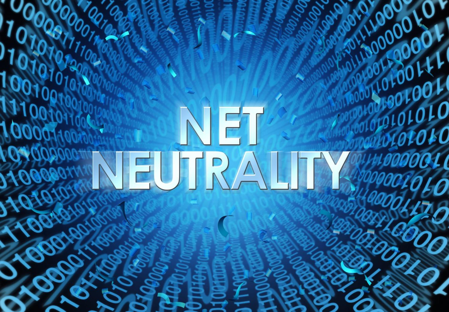 Net neutrality concept as an internet regulation idea with text and binary cade as an online technology metaphor for web freedom as a 3D illustration.